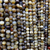 brown agate gemstone round beads - banded agate beads - smooth round beads - stone beading materials  - bracelet making supplies -15inch