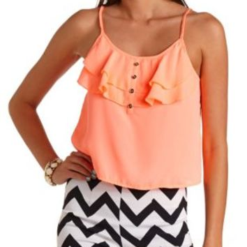 Neon Swing Ruffle Crop Top by Charlotte Russe - Neon Coral