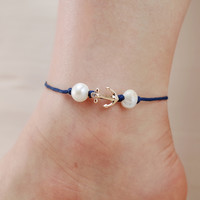 Anchor Beach Theme Adjustable Anklet
