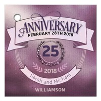 Pink Sparkly Pinstripes Anniversary Gift Favor tag
