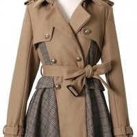 Double Breasted Check Coat with Belt in Camel - Retro, Indie and Unique Fashion