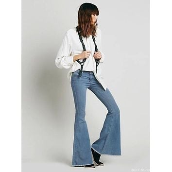 Simple Casual Bodycon Low Waist Show thin Flared Jeans