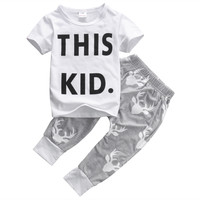 Toddler Kids Baby Boy Clothes Short Sleeve This Kid Letter Print T-shirt Top Deer Pants 2PCS Outfits Bebes Clothing Set 0-5Y