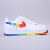 Nike Air Force1 AF1 New Fashion Multicolor Hook Running Shoes White