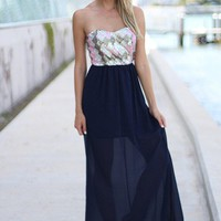 Navy Strapless Maxi Dress with Sequin Top