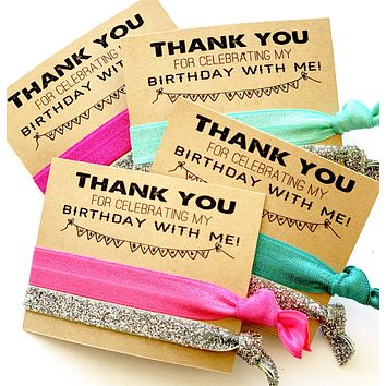 Pink-Teal Birthday Favors, Thank you for celebrating with me, girls birthday