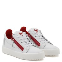 Giuseppe Zanotti Gz Frankie White Calfskin Leather Low-top Sneaker With Red Zips