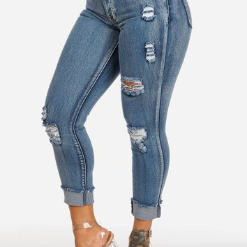 Mid Rise Acid Wash Ripped Ankle Skinny Jeans