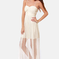 Benefit of the Dot Ivory Lace Maxi Dress