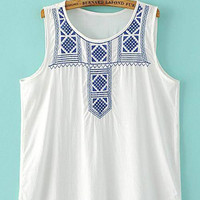 White Patterned Sleeveless Vest