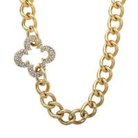 Marie Claire Jewelry Crystal Gold Tone Clover Necklace (Yellow)