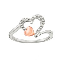 Platina 4 Diamond Accent Double Heart Ring (White)