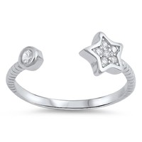 Sterling Silver Split Star Toe Ring/ Knuckle/ Mid-Finger 6MM