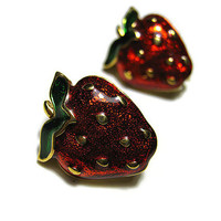 Enameled Vintage Strawberry Earrings Gold Tone Clip On Womens Retro Fruit Summer Jewelry