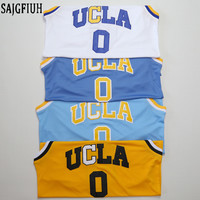 SAJGFIUH Mens Russell Westbrook #0 UCLA Bruins Blue/Light Blue/White/Yellow Stitched Basketball Jersey