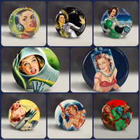 Vintage Space Women Pin-Up Astronaut images Magnet Set,  1 inch pin back buttons or magnets 8 images set, retro outer space vixens, aliens