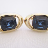 Blue Glass Cufflinks Vintage Cuff Links Faceted Blue Glass Men's Jewelry Gifts for Men Gold Tone Jewel