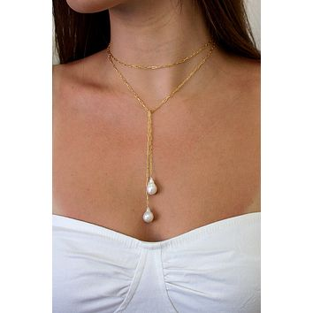 Breathless Tie Lariat Necklace - Christine Elizabeth Jewelry
