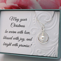 Christmas gift for her 925 Gift Sterling silver infinity necklace with Swarovski pearl, gift for coworker, teacher, nanny