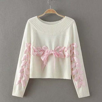 Lace-up Long Sleeve Sweater