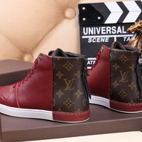 Ready Stock Lv Louis Vuitton Men's Leather Fashion High Top Sneakers Shoes #946