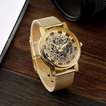 Skeleton Analog Men's Luxury Stainless Steel Mesh Band Quartz Wrist Watch Gift