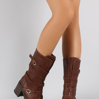 Strappy Buckle Heeled Mid Calf Boots