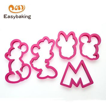 Set of 5 Kitchen Accessories Plastic Cartoon Mickey Mouse Biscuit Cookies Cutter