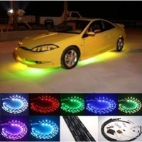 Zone Tech 7 Color LED Under Car Glow Underbody System Neon Lights Kit /Sound Active Function and Wireless Remote Controller