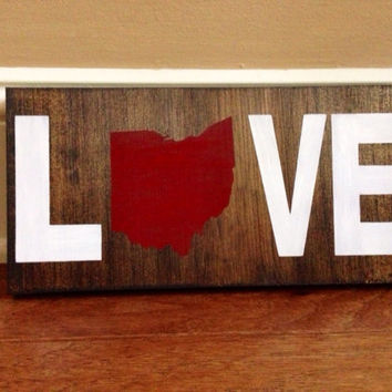 Pick State, Custom Love State Wood Sign, Choose State, Stained and Hand Painted, Home decor, State decor, Love Sign, State on Wood