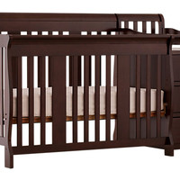 Portofino Espresso Crib and Changer Combo - Cribs Dark Wood