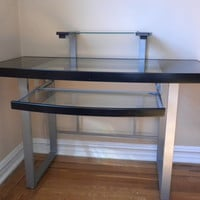 Glass top office desk with office chair