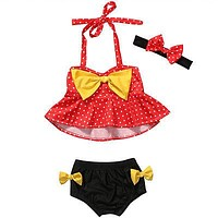 Baby Toddler Kids Girls Dot Bikini Swimwear Bathing Suit Summer Beachwear