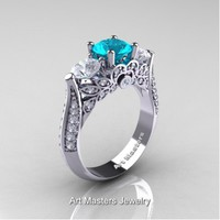 Classic 14K White Gold Three Stone Blue Zircon White Sapphire Diamond Solitaire Ring R200-14KWGDWSBZ