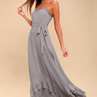 Stars in Your Eyes Grey Maxi Dress