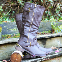 Redmond Rock Brown Buckle Riding Boots
