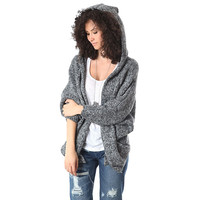 Black knit cardigan in fleck yarn with hooded neck