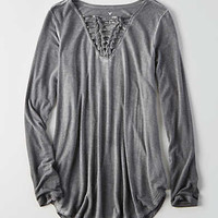 AEO Soft & Sexy Knotted T-Shirt , True Black
