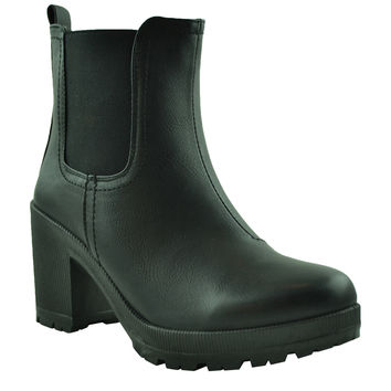 Womens Ankle Boots Chunky High Heel Pull On Casual Booties black