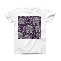 The Purple Sacred Elephant Pattern ink-Fuzed Front Spot Graphic Unisex Soft-Fitted Tee Shirt