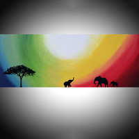 "ARTFINDER: original abstract landscape impasto ""elephants of Rainbow Sun"" africa animal painting art canvas - 48 x 20 "" by Stuart Wright - A large sized original impasto abstract profess..."