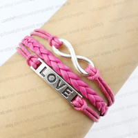 Infinite love charm bracelet, shallow red braided leather bracelet, gifts for girls