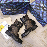 lv louis vuitton trending womens black leather side zip lace up ankle boots shoes high boots 244