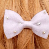 White Felt Hair Ribbon Bow with White Pearls. Alligator Clip Attachment Ecofriendly Recycled Materials