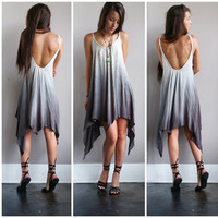 An Asymmetrical Ombre Dress