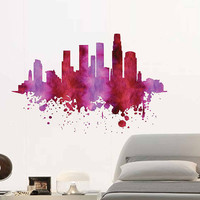 kcik1892 Full Color Wall decal Watercolor Los Angeles American city living children's bedroom