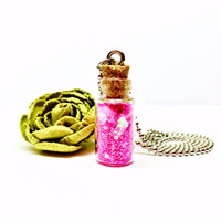 Fairy Dust Necklace, Pink Glitter Glass Bottle Pendant, Hot Pink Glitter Necklace, Ball Chain, Glass Bottle Jewelry, Little Girl Necklace