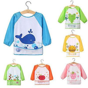 Cute Baby Kids Children Waterproof Long Sleeve Feeding Bib Apron Smock