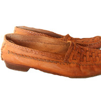Vintage COLE HAAN Loafer Men's Brown Leather Woven Toe Slipper Shoes with WOODEN Handcrafted Sole and Leather Upper