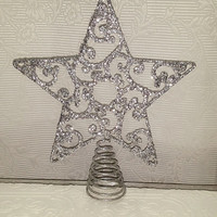 Silver Glitter Sparkling Christmas Tree Topper